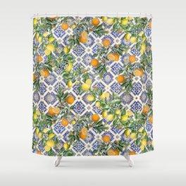 Blue mediterranean vintage citrus orange fruit pattern Shower Curtain