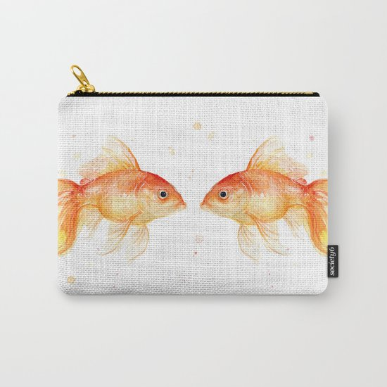 Goldfish Love Watercolor Fish Painting Carry-All Pouch