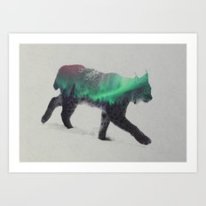 Lynx In The Aurora Borealis Art Print