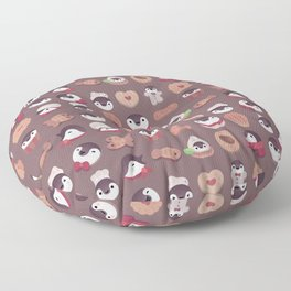 Cookie & cream & penguin - brown  pattern Floor Pillow
