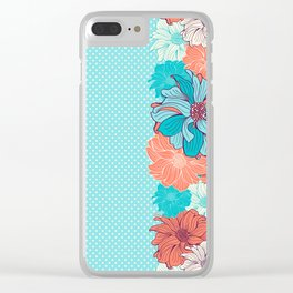 Dahlia floral border in turquoise Clear iPhone Case