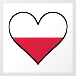 Polish Flag Heart Art Print