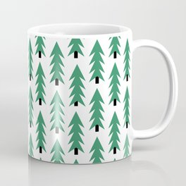 Christmas Tree forest holiday minimal decor festive winter trees green and white Coffee Mug