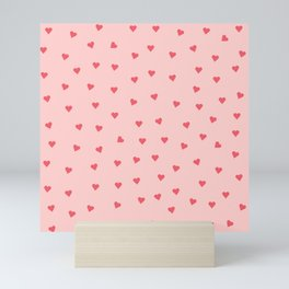 Valentines Day Pink Love Scatter Hearts Mini Art Print