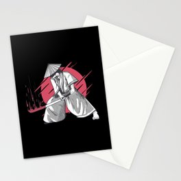 Samurai with sword and blood stains Stationery Cards