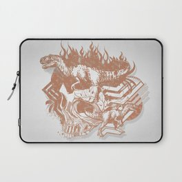 Bronze Skull and T-Rex Abstract Vector Art Laptop Sleeve