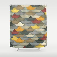 boats Shower Curtains featuring Boats by GLOILLUSTRATION
