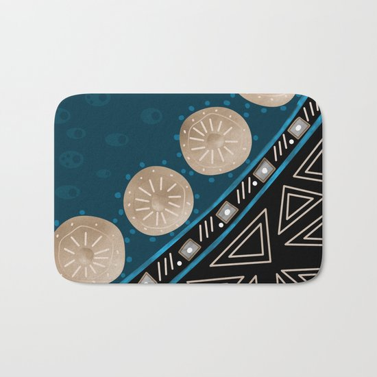 Abstract pattern Black and blue . Bath Mat