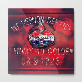 Vintage Truck Gas Station Sign Metal Print