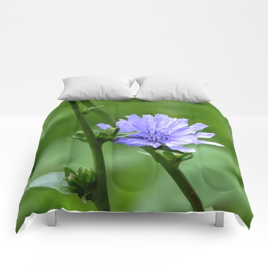 Nature's Garden Purple And Green Comforters