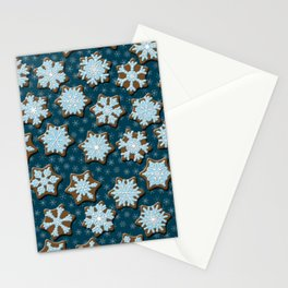 Frosted Gingerbread on Winter Night Sky Stationery Cards