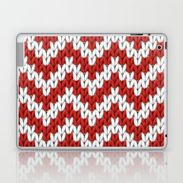 Red Christmas knitted chevron, large scale Laptop & iPad Skin
