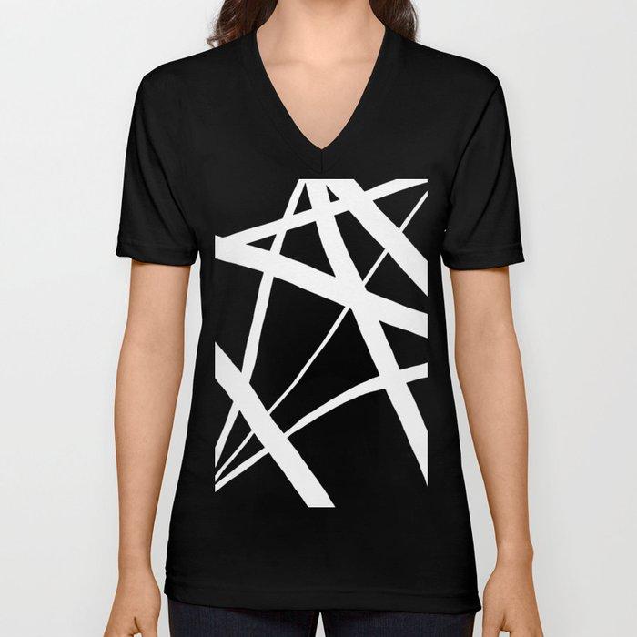 Geometric Line Abstract - Black White Unisex V-Ausschnitt