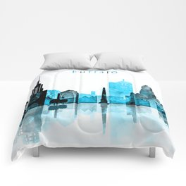 Buffalo Monochrome Blue Skyline Comforters