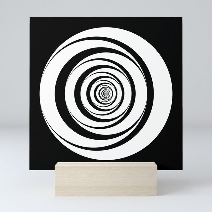 Black White Circles Optical Illusion Mini Art Print