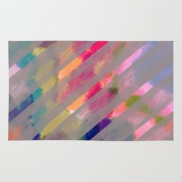 Ribbon Party - Gray and Rainbow Stripe Palette Rug
