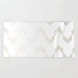 Simply Deconstructed Chevron White Gold Sands on White Beach Towel