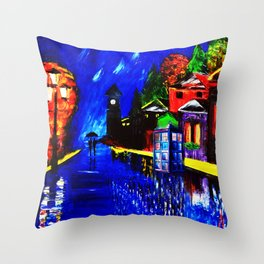 Tardis Phone Both Starry Night Throw Pillow