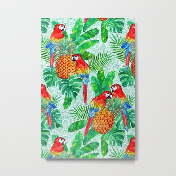 Pineapples and Parrots Tropical Summer Pattern Metal Print