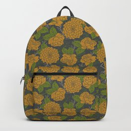 Floral Pattern in Goldenrod and Green Backpack