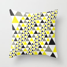 Black & Yellow equilateral triangles pattern Throw Pillow