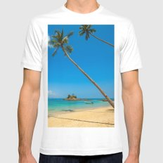 Happy Place White Mens Fitted Tee MEDIUM