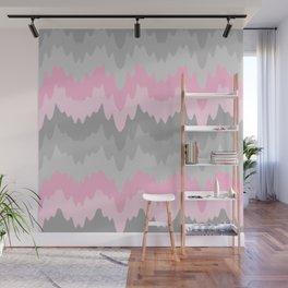 Pink Grey Gray Ombre Chevron Camo  Wall Mural