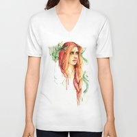 flora V-neck T-shirts featuring Flora by ArtbyLumi
