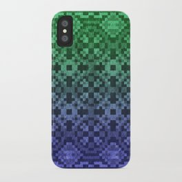 Pixel Patterns Blue Green iPhone Case