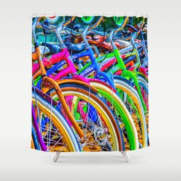 Colorful bicycles in a row Shower Curtain