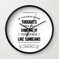 roald dahl Wall Clocks featuring Roald Dahl quote  by Dickens ink.