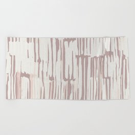Simply Bamboo Brushstroke Lunar Gray on Clay Pink Beach Towel