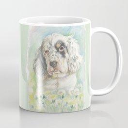 ENGLISH SETTER PUPPY Cute dog portrait on the dandelions meadow Coffee Mug
