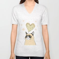 Grumpy Pizza Love Unisex V-Neck