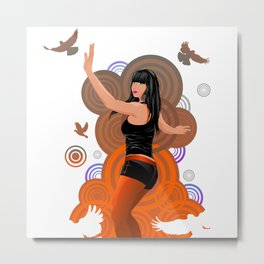 Dancing girl with doves Metal Print