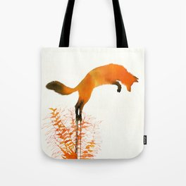 red fox jumping Tote Bag
