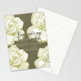 Scripture Gray,White Rose Stationery Cards