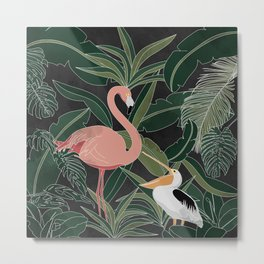 Flamingo and Pelican Metal Print