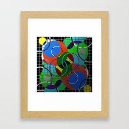 Caged Geometry - Abstract, metallic, geometric, rainbow coloured circles Framed Art Print