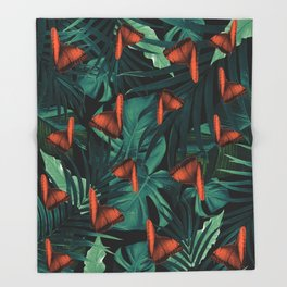 Tropical Butterfly Jungle Night Leaves Pattern #2 #tropical #decor #art #society6 Throw Blanket