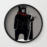 snowboard Wall Clocks featuring Bear on snowboard by SpazioC