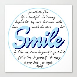 Smile, typography poster, motivational quotes, inspirational, blue Canvas Print