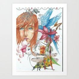 Birds & Bubbles Art Print