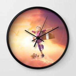 Mattepainting flying kid mattepainting Wall Clock