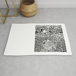 Tiger and Leopard and pattern background Rug