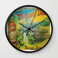whiskey Wall Clocks featuring Old Whiskey by Peaky40