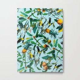 Fruit and Birds Pattern Metal Print