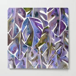 Split Leaf Philodendron – Purple Metal Print