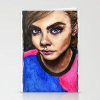 cara delevingne Stationery Cards featuring Cara Delevingne:) by vooce & kat