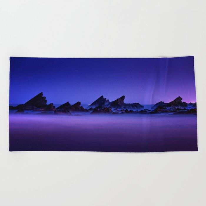 Still Waters Jagged Rocks Beach Towel